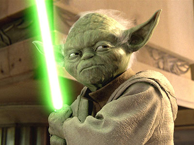 Yoda and his light sabre